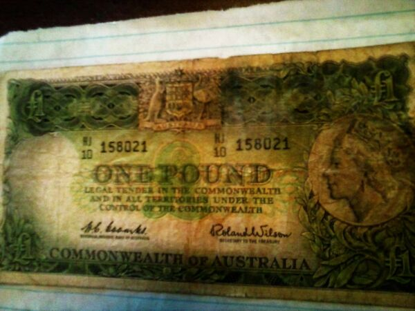 Rare Vintage One Pound Commonwealth Australian Note