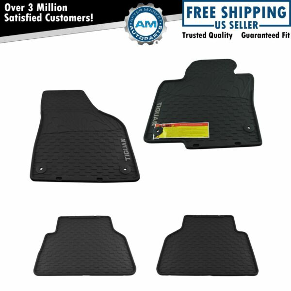 OEM 4 Piece Monster Floor Mat Kit LH RH Front & Rear Black Rubber for VW Tiguan