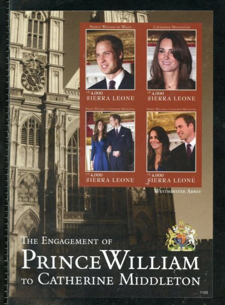 SIERRA LEONE  ENGAGEMENT OF PRINCE WILLIAM & KATE MIDDLETON  IMPERF SHEET II  NH $34.95