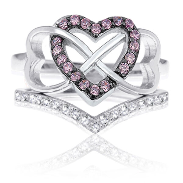 Pink Sapphire Triple Heart Infinity Celtic CZ Wedding Engagement Silver Ring Set