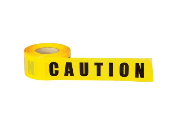 Yellow CAUTION Tape With Bold Black Letters 2.4 Mils Case of 10