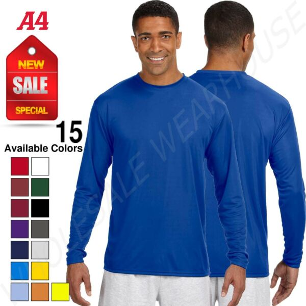 NEW A4 Dry-Fit Running Cooling 100% Polyester Performance Long Sleeve Tee N3165