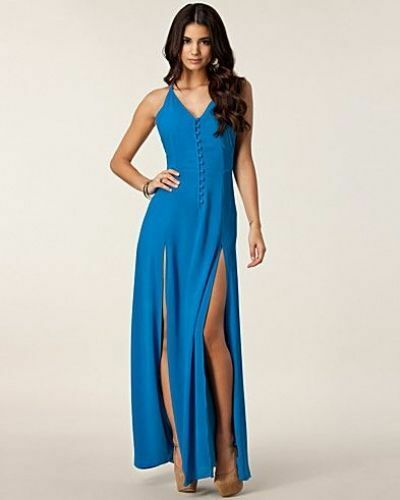 Jarlo Chelsea Maxi Dress in Blue Sexy High Slits Size Large RARE NEW WITH TAGS!