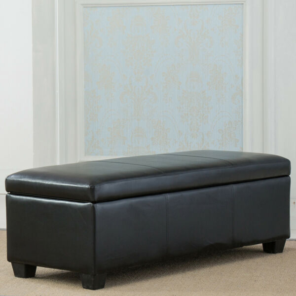 Contemporary Modern Faux Leather bedroom rectangular Storage Ottoman Bench 48