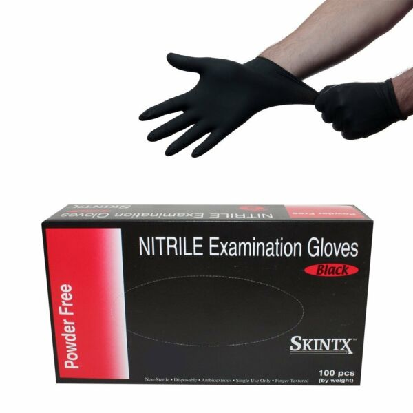 100 Black Nitrile Disposable Tattoos Industrial Gloves Medical Grade Exam