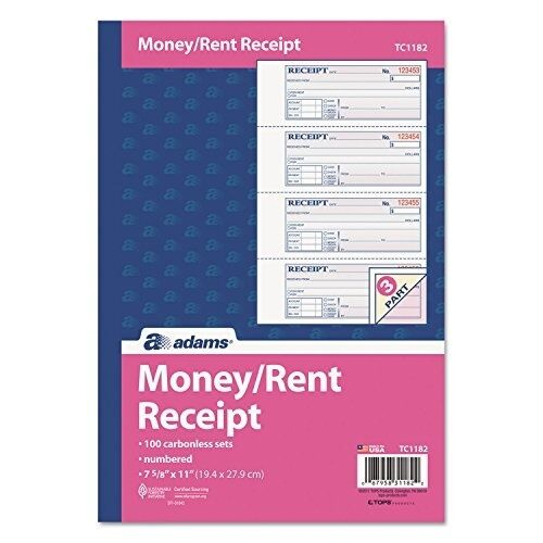 Adams(R) Carbonless 3-Part Money/Rent Receipt Book, 7 5/8in. x 11in., Book Of 10