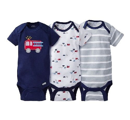 Gerber Baby Boys 3 Piece Rescue Firetruck Onesies Set; BABY CLOTHES SHOWER GIFT