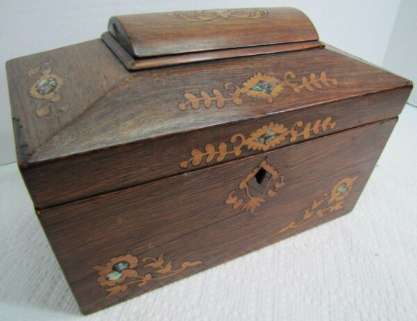 Antique 19c Tea Caddy Wooden Box Ornate Inlaid Mother of Pearl Marquerty