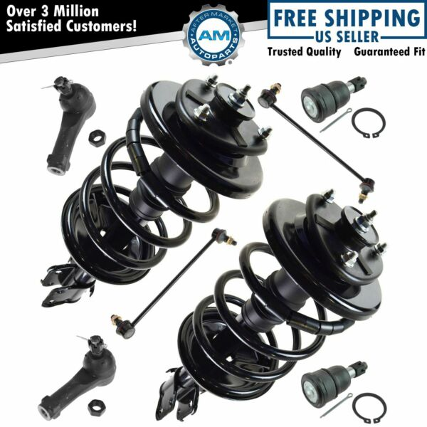 Front Ball Joint Tie Rod End Sway Bar Link Quick Complete Loaded Strut Kit 8pc