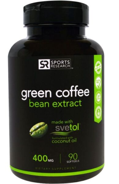 NEW SPORTS RESEARCH GREEN COFFEE BEAN EXTRACT GLUTEN FREE DAILY BODY SUPPLEMENT