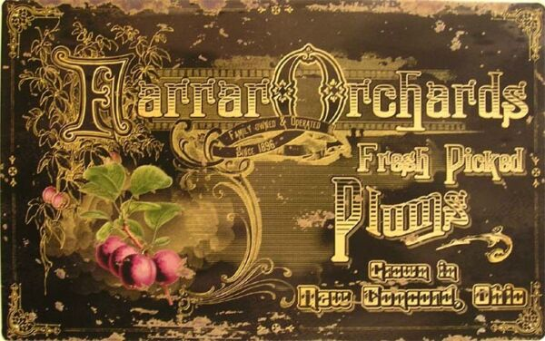 RusticVintage Farrar Orchards Fresh Plums Harvest Produce Fruit Tin Metal Sign