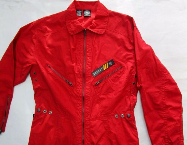 Men's DKNY Official Uniform Coverall Overall New Red Boilersuit Mechanic Sz P