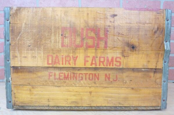Old BUSH DAIRY FARM FLEMINGTON NJ Wooden Milk Box Advertising Crate