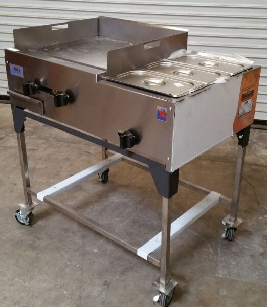 NEW 36quot; Taco Cart Plancha Flat Top Griddle amp; Steam Table Propane LP Gas #1189