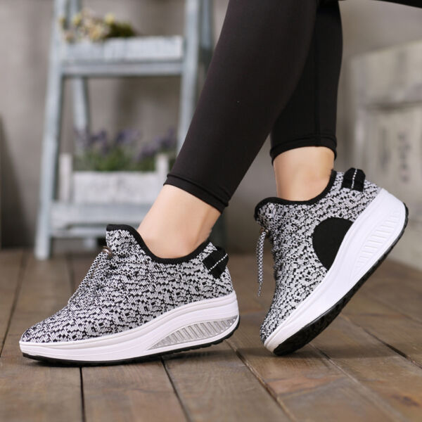 Breathable Women's Lace Up Mesh Toning Fitness Walking Shoes Sneakers Platforms