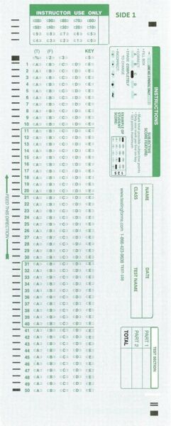 CNC INC TEST 100E Scantron 882 E Compatible Testing Forms 50 Sheet Pack $14.10