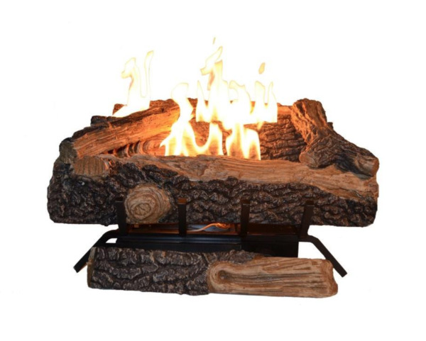 24 in. Vent Free Propane Gas Fireplace Logs Heater Realistic Insert Thermostat