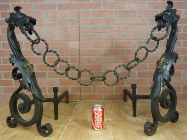 Wrought Iron Gothic Dragon Andirons Large Decorative Arts Pair Brass Eyes Ornate