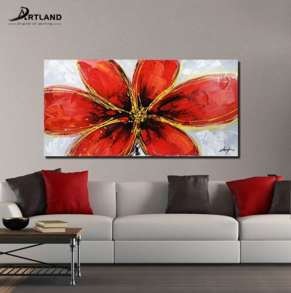 Large Oil Painting  Canvas Wall Art Set Hand Painted Framed  'Bright Red Flower