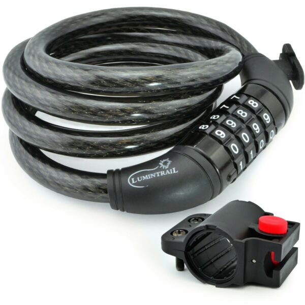 Lumintrail Security 4 Digit Combination Bike Cable Lock with Mounting Bracket $9.99