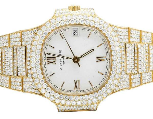 18k Yellow Gold Ladies Patek Philippe Nautilus 3800001 Pave Set Diamond Watch