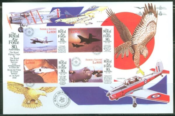 SIERRA  LEONE  IMPERF 80th ANNIVERSARY OF THE RAF SHEET  SC#2134   MINT NH $39.95