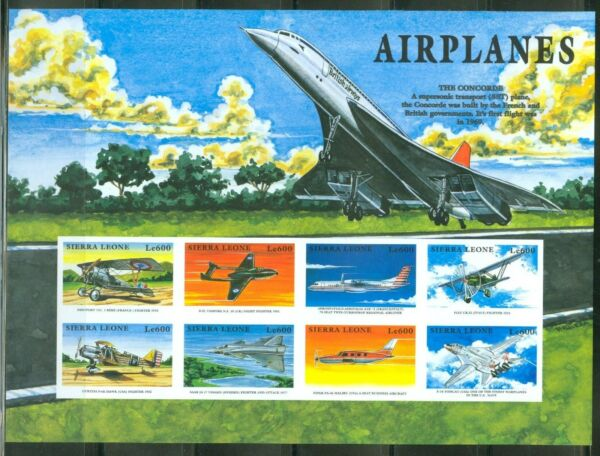 SIERRA  LEONE  IMPERF AIRPLANES THE CONCORDE NIEUPORT SHEET  SC#2174  MINT NH $39.95