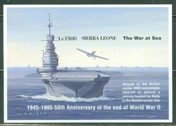 SIERRA  LEONE IMPERF 50th ANNIVERSARY END OF WORLD WAR II  SS  SC#1804 MINT NH $39.95