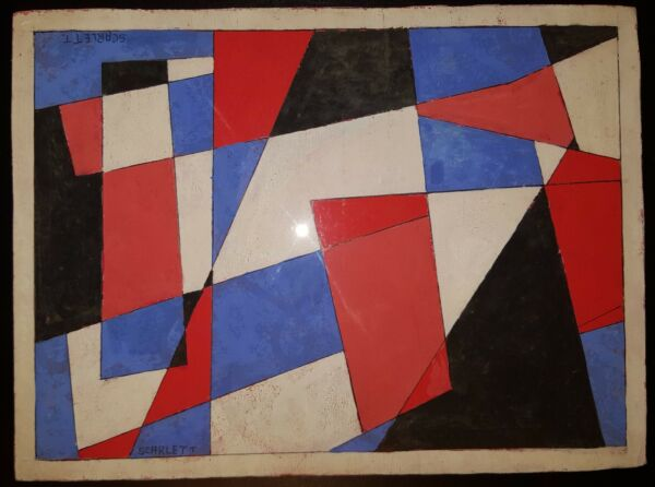VINTAGE ROLPH SCARLETT'S AMERICAN FLAG ABSTRACT MODERNISM PAINTING FINE ART NY