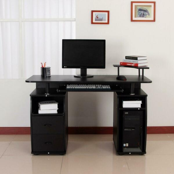 Computer PC Desk Work Station Office Home Furniture Raised Monitor