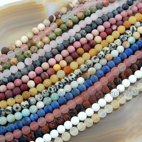 Wholesale Natural Matte Gemstone Round Spacer Loose Beads 4mm 6mm 8mm 10mm 12mm $5.99