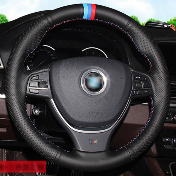 Top Leather Steering Wheel Hand-stitch on Wrap Cover For BMW F10 3 5 7 Series