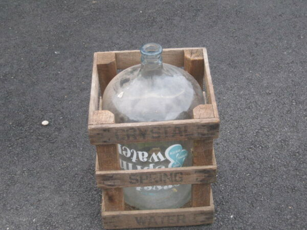 Crystal Spring 5 Gallon Water Glass Bottle Jug With Wooden Crate Beer Wine Makin