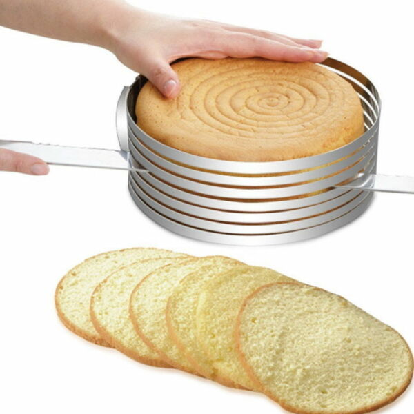 Adjustable Round Stainless Steel DIY Cake Mousse Ring Mold Layer Slicer Cutter
