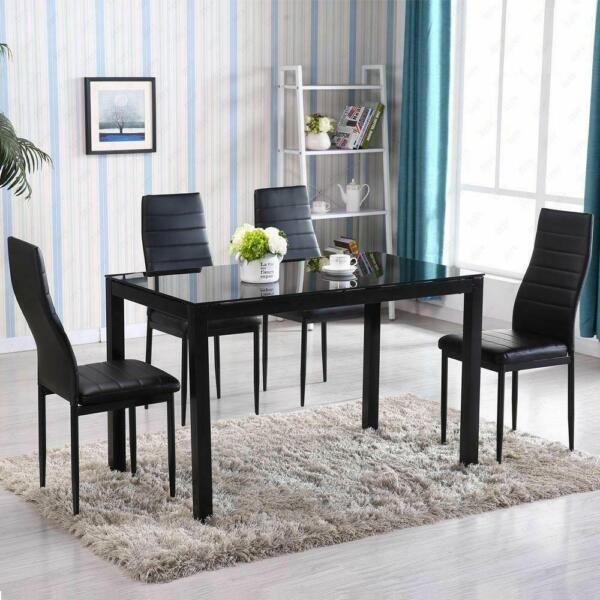 5 Piece Dining Table Set 4 Chair Glass Metal Kitchen Room Breakfast NEW $175.99