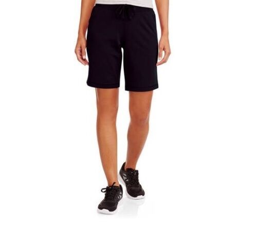 Athletic Works Women's Active French Terry Bermuda Black Shorts Size S (46)
