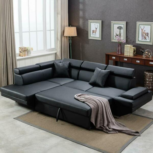 Contemporary Sectional Modern Sofa Bed Black with Functional Armrest Back L
