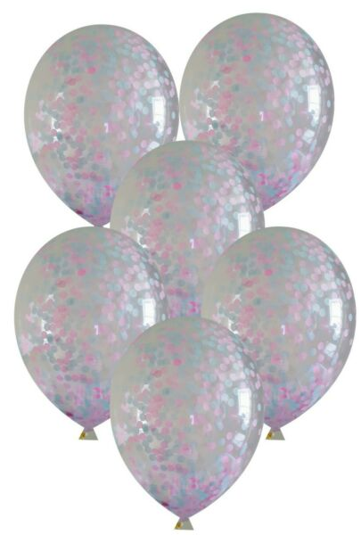 biodegradable in 4 sizes CONFETTI BALLOONS Baby Shower pink blue FREE ribbon GBP 5.99