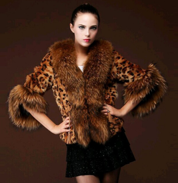 Womens Luxury Leopard Winter Warm Jacket Parka Big Faux Fur Coat Outwear Fashion
