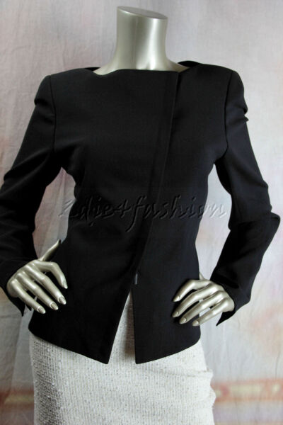 $3570 New with tags AKRIS Black Angled Zipper Wool Annabelle Jacket 40 10