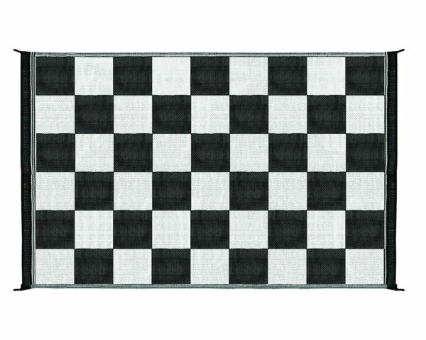 Black White Checker Outdoor Patio Deck 6 x 9 ft RV Mat Reversible Rug Foldable