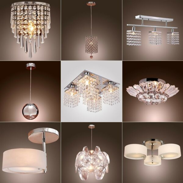 Home Chandelier Ceiling Pendant Light Modern Flush Crystal Lamp Fixture lighting