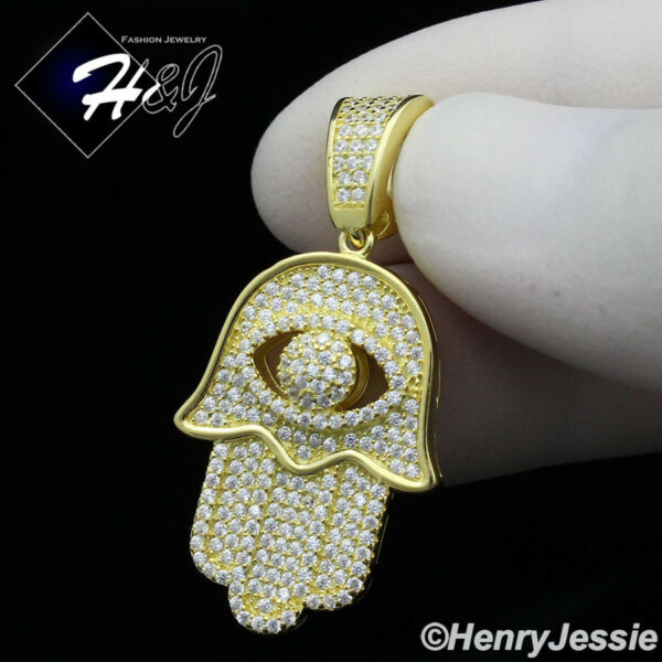 MEN 925 STERLING SILVER LAB DIAMOND ICED GOLD EVIL EYE HAMSA HAND PENDANT*GP178