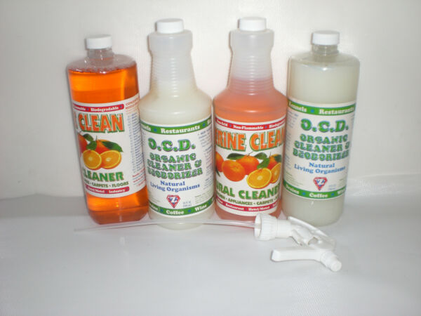 OCD amp; Tangerine Clean Natural Cleaning Supplies 4 32 oz Bottles w 2 Sprayers $39.95