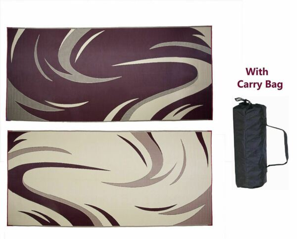 Outdoor Patio Deck RV Mat Reversible Rug 8 x 18 ft Foldable Burgundy Tan Swirls