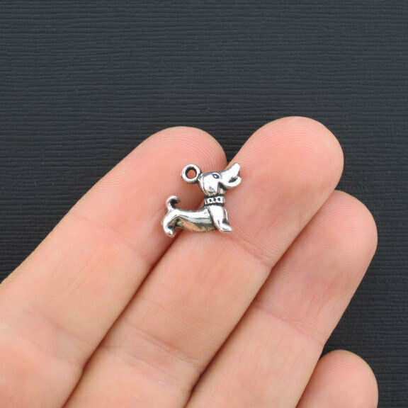 10 Dog Charms Antique Silver Tone Adorable Puppy SC2770 $3.49