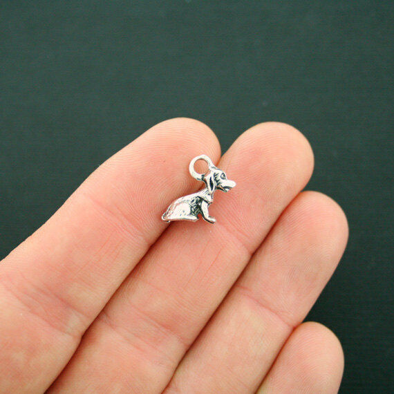 10 Dog Charms Antique Silver Tone 3D Sitting Puppy Charm SC6769 $3.99