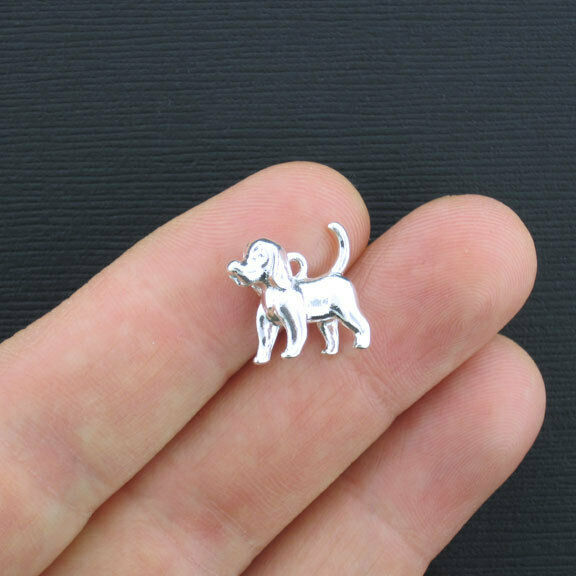 5 Dog Charms Silver Plated Puppy 3D SC3362 $3.49