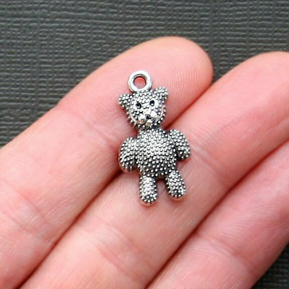 8 Teddy Bear Charms Antique Silver Tone - SC2739
