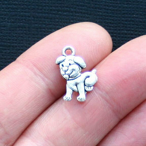 8 Dog Charms Antique Silver Tone 2 Sided Puppy SC3179 $3.49